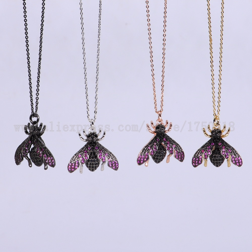 5 strands fly bugs necklace Insects bee pest pendants necklace small size jewelry 18 mix color necklace pets beads 3081