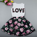 2PCS/Set Summer Girl Clothing set Fashion Floral Casual Suit Children Clothing Set Sleeveless Top+Floral Skirt Kids Clothes Set