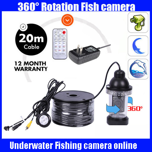 20Meters Depth 360 Degree Rotative Underwater fishing Camera with 18pc LED for Fish Finder Diving Camera