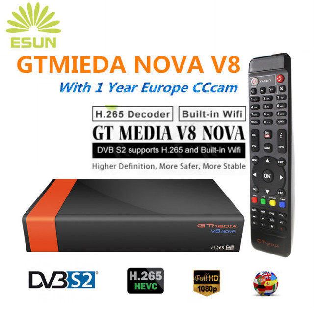 GTMedia V8 Nova DVB-S2 Freesat Satellite receiver+1 year Europe Spain UK Germany Polish Netherland CCcam h.265 +1080P HD