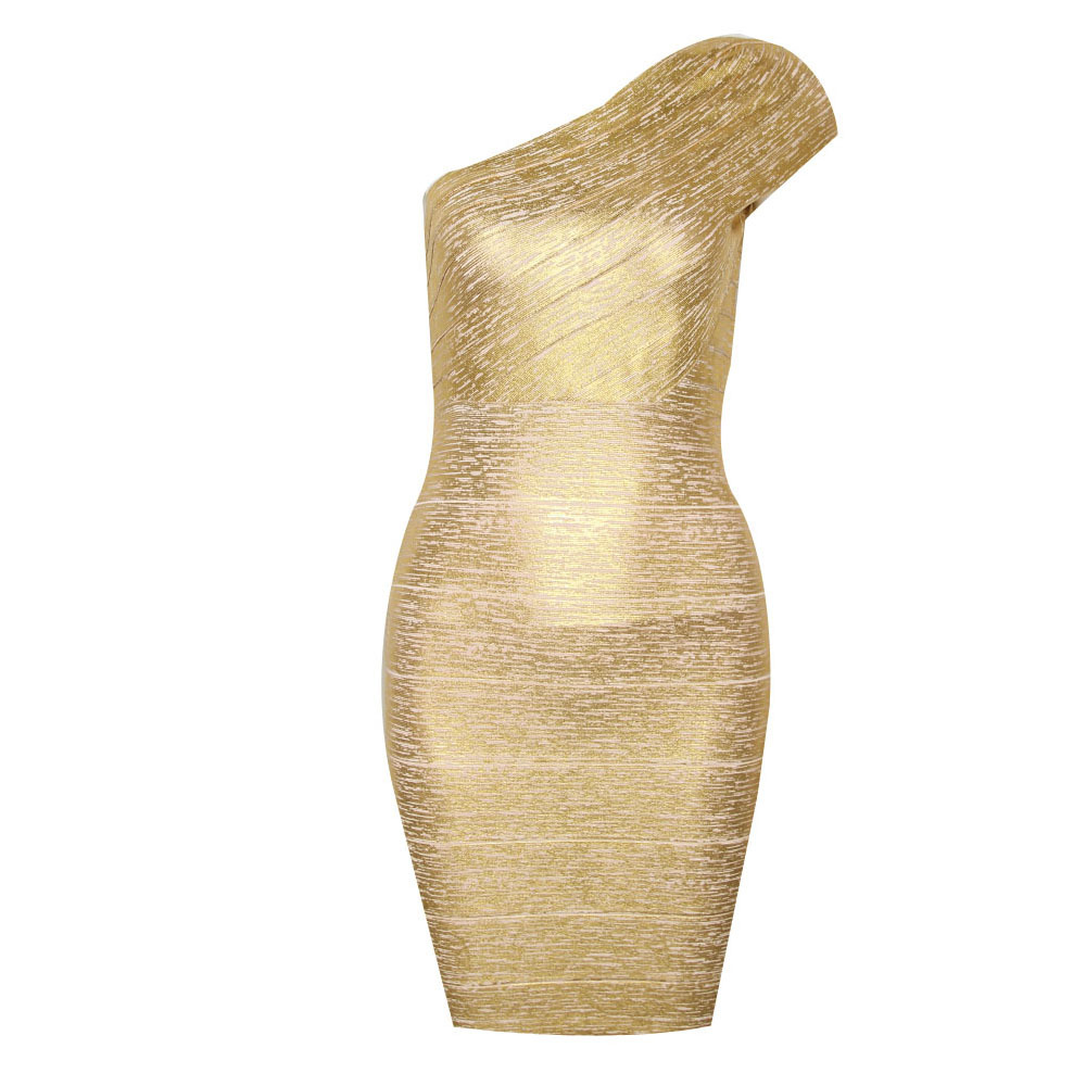 77cc83df6c35b Gold Bandage Party Dress Sexy Women Outfit One Shoulder Cocktail ...
