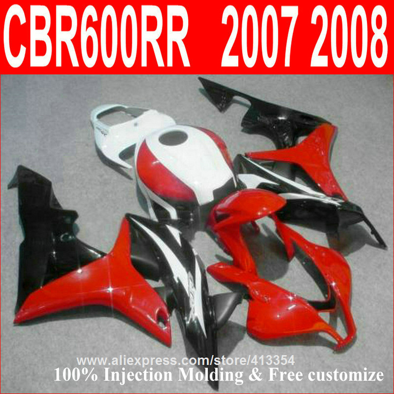 Injection motorcycle fairing kit for Honda CBR600RR 2007 2008 red white black bodywork fairings set CBR 600RR 07 08 137NT