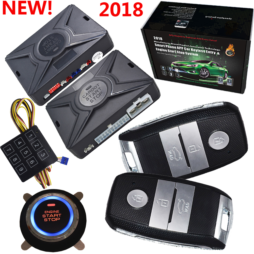 Pke smart car alarm system passive keyless entry auto lock or unlock car door push button start stop smart ani hijacking alarm smart haa flip key pke car alarm system push start remote start stop engine auto central door lock with shock sensor