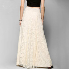2018 Retro Wedding Look Pleated Tulle Skirts white cotton long lace skirt Beach Wedding Skirt Female School Maxi Skirt(China)
