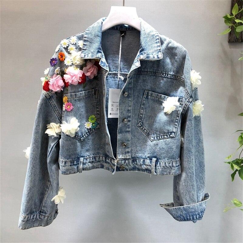 2018 printemps et été nouveau tempérament mode paillettes fleurs Denim veste femme court paragraphe sauvage étudiant veste HJB190