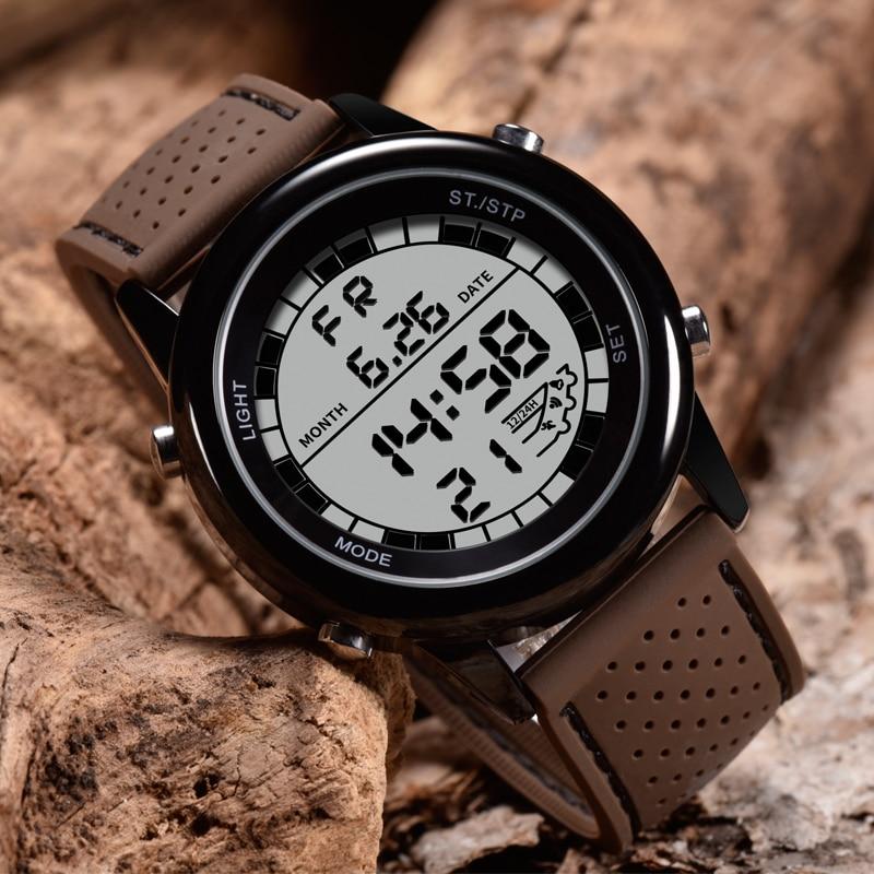 SANDA-montre numérique pour hommes, de luxe, montre-Bracelet de Sport, de luxe, Led lumineuse, affichage numérique, chronographe chronomètre
