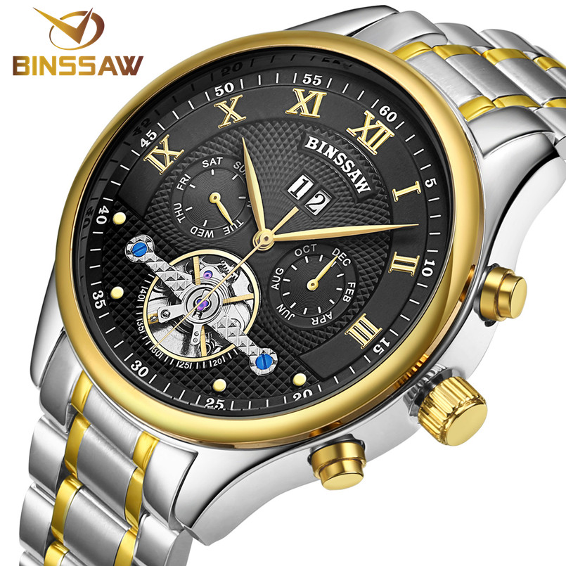 BINSSAW new 2017 Top luxury brand men s automatic mechanical watches tourbillon fashion business sports stainless