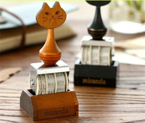 2017 new cat hander retro date clear stamp for scrapbooking DIY wheel knob Diary  date stamp