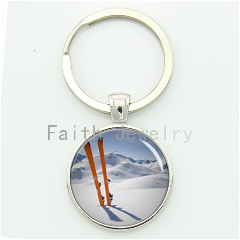 Winter is Coming Go skiing 2016 newest elegant snow sports key chain charming white ice snow world ski racing keychain KC598 ...