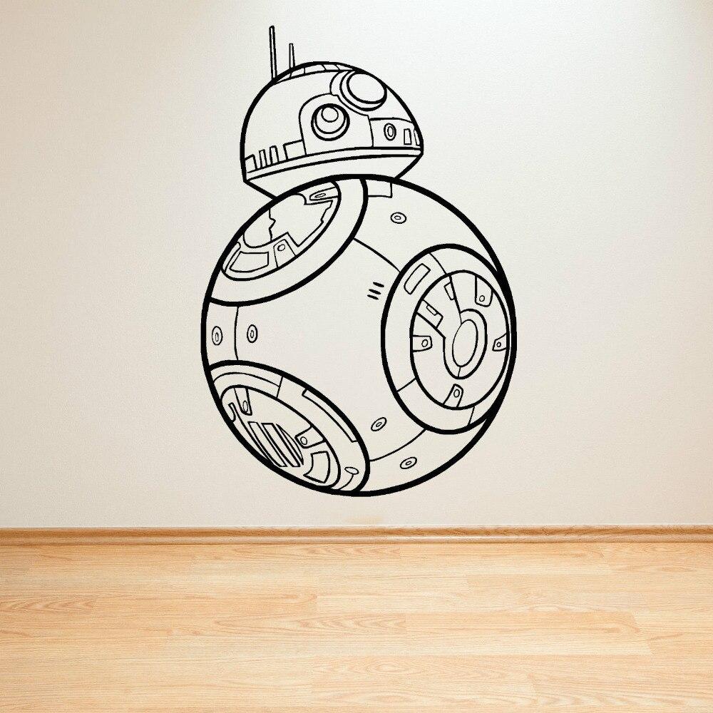 Eco friendly star wars bb 8 droid yang membangkitkan kekuatan vinyl wall art stiker untuk kamar anak anak dinding kertas perang bintang film sticker zb322