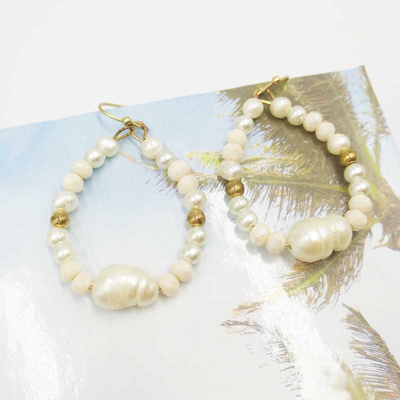 Tuyên Bố thời trang Trang Sức Tối Giản Trắng Ngọc Trai Vòng Bông Tai Ngọc Trai Nước Ngọt Dây Bông Tai Dành Cho Nữ
