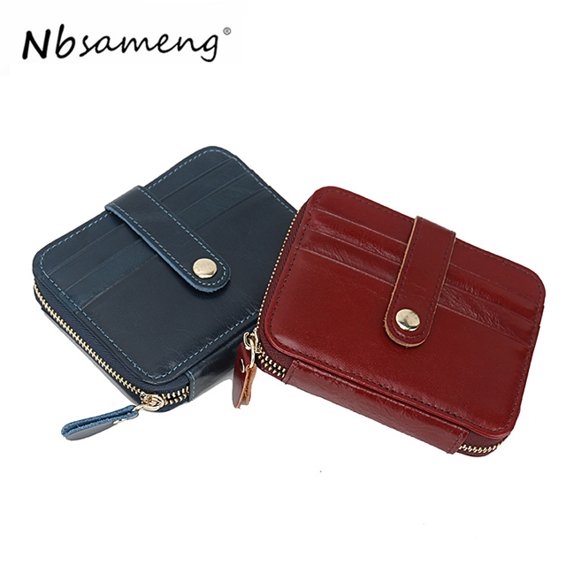 NBSAMENG Genuine Leather Small Girl Wallet Short Mini Minimalist Bag Card Holder Bags For Women 2018