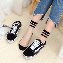 Japanese college wind striped tube socks spring and summer ultra-thin transparent female students crystal glass