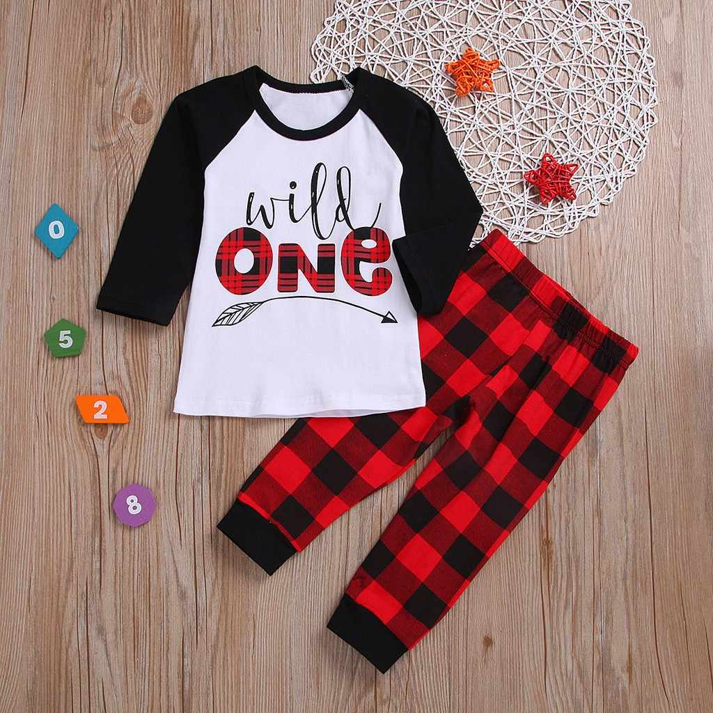65ee4c2c6 ISHOWTIENDA Winter Toddler Baby Boys Girls Letter Tops Pants Plaid Trousers  Outfits Pajamas Set roupa menina
