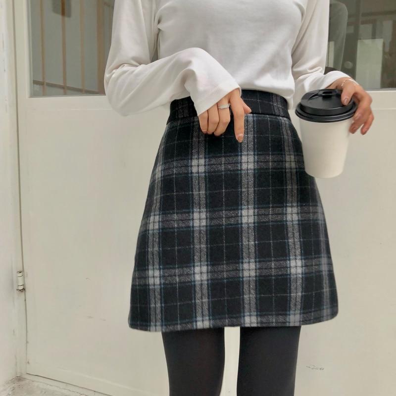 Women's Skirts Casual Kawaii Ulzzang Chic High Waist Retro Checkered Woolen Skirt Female Korean Girl Vintage Clothing For Women