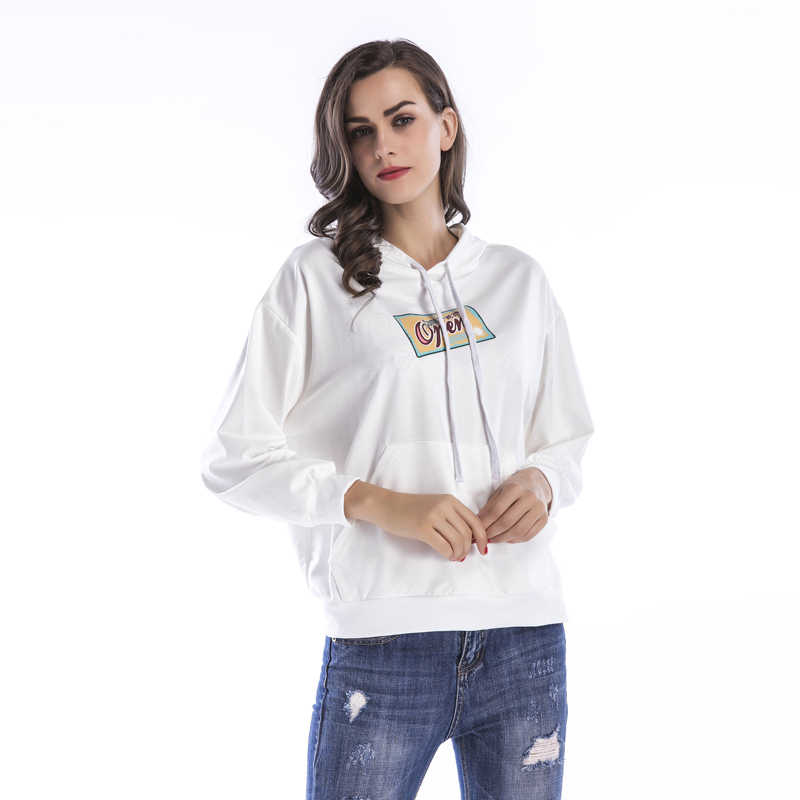 Autumn Spring Women's Sweatshirt Dolman Sleeve Print Drawstring hoodies Tops Whiskey Harajuku Riverdale Lil Peep Poleron Tiny
