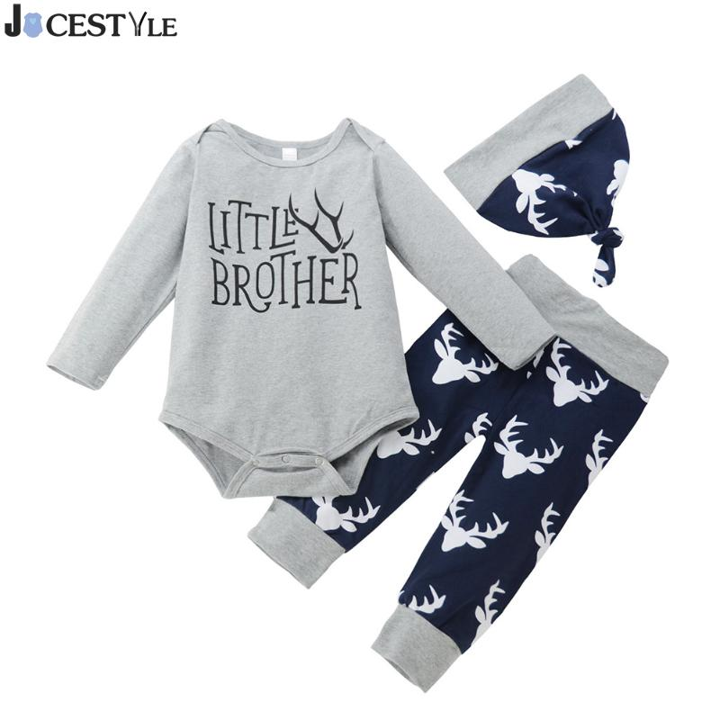 3pcs/Set Newborn Christmas Boy Baby Clothes Long Sleeve Letters Printed Romper Pants Hat Outfits Set Baby Clothing