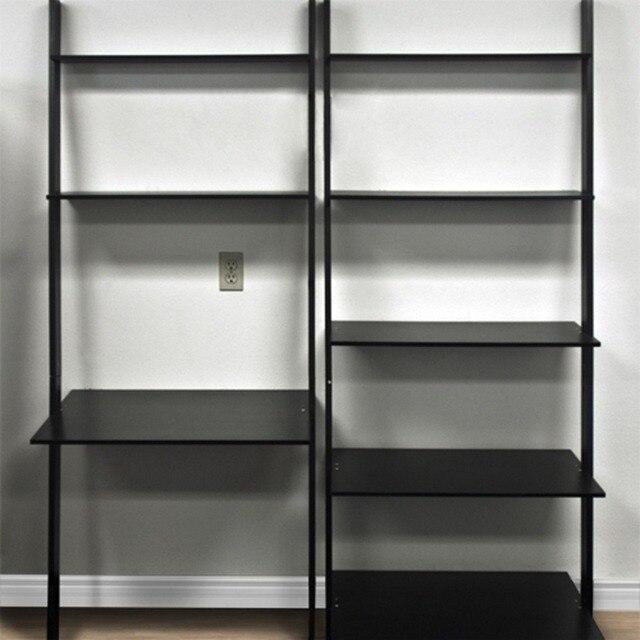 Accueil bureau bois penchée étagère bibliothèque avec ordinateur ...