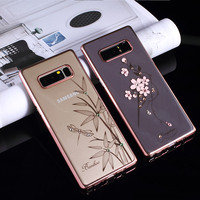 KINGXBAR For Samsung Galaxy Note 8 Case Swarovski Element Crystal Diamond Flower Rhinestone Case For Samsung