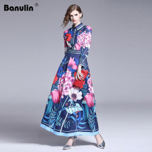 Banulin 2019 Spring Summer Fall Runway Chic Floral Print Long Sleeve Empire Waist Women Ladies Casual A-Line Maxi Beach Dress