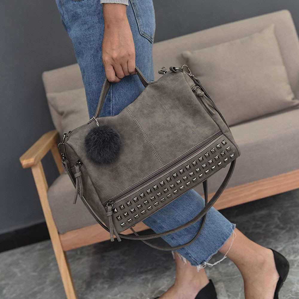 2017 HOT SALE Women Rivet Shoulder Bag Dating Satchel Crossbody Tote Handbag Purse Messenger Totes Ladies Purse Leisure Bag b# Сумка