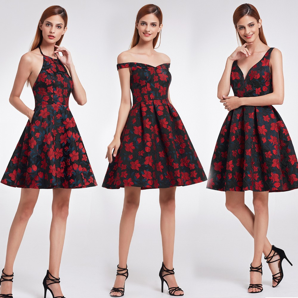 Ever Pretty Ball Gown Homecoming Dresses 2018 New Arrival Girl Red and Black V Neck Floral Print Short Party Gown for Graduation