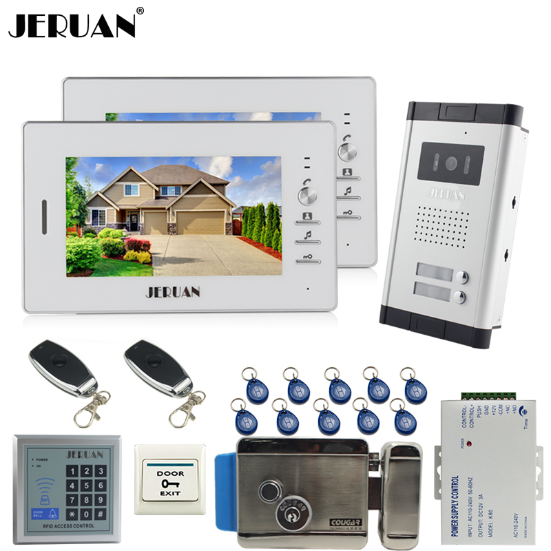 JERUAN 7 inch LCD video door phone 2 white Monitor 1 HD Camera Apartment 1V2 Doorbell+RFID Access Control+FREE SHIPPING jeruan apartment 4 3 video door phone intercom system kit 2 monitor hd camera rfid entry access control 2 remote control