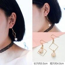 SUKI Asymmetrical Round Beaded Earrings Women Fashion Korean Temperament Earring Long Personality Ear Jewelry Exquisite