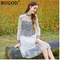 RUGOD 2019 Slim patchwork plaid lace hollow out women summer dress vintage lolita sweet tunic madi dress fashion vestido mujer