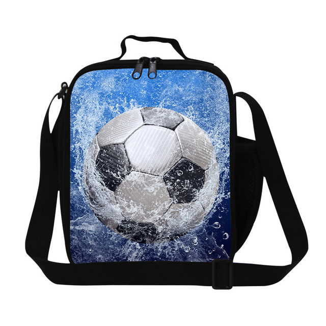 personalized insulated lunch bags for boys,ball 3D printing stylish lunch cooler bags for men children's small thermal meal bag