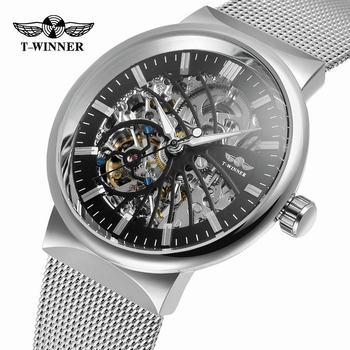 Winner Transparent Steampunk Montre Homme Black Retro Casual Mens Watches Top Brand Luxury Full Steel Skeleton Mechanical Watch дамски часовници розово злато