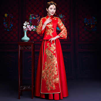 Red Bride Fall Clothes Vintage Chinese Style Wedding Dress Retro Toast Clothing Embroidery Peacock Gown Marriage Cheongsam Qipao - DISCOUNT ITEM  53% OFF All Category