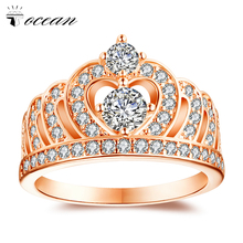 Tocean Rose Gold Color Fashion Wedding Rings for Women Oval Cut AAA Zircon Engagement Bijoux Bague Round CROWN size 6-10 HM1210 luxury cubic flower novel star cute rose gold color wedding rings for women green aaa zircon engagement bijoux bague size 6 10