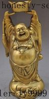 Christmas Chinese Brass Wealth Yuanbao Money Bag Happy Laugh Maitreya Buddha Sculpture Halloween