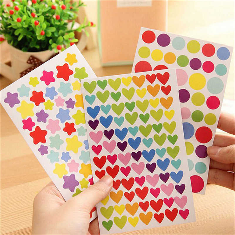 6Sheets/set Colorful Dot Love Heart Stars Shape Funny Scrapbooking Diary Decorations Sticky Notes Memo Pad