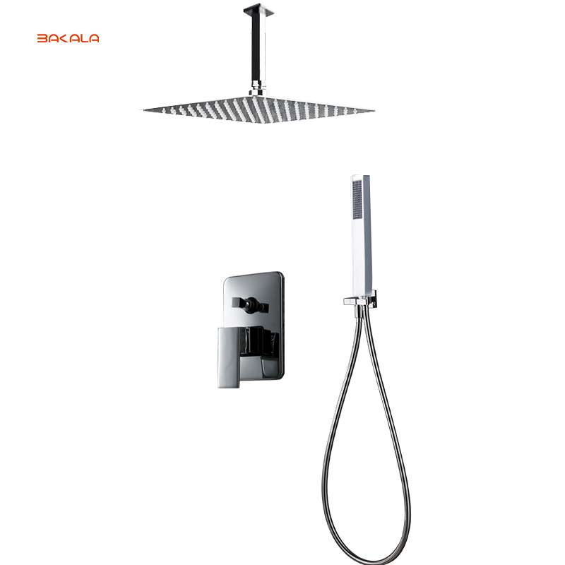 BAKALA Luxury 8-10-12-16 inch Stainless Steel Ceiling Mount Bathroom Rain Shower Faucets Head Shower Set With Hand Shower BR-CP 12 inch shower head with arm 300 300 stainless steel head shower with ceiling shower arm top water saving rain shower