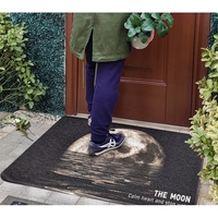 PVC Silk Loop Dust proof Printed Doormat Rugs Black Gray Outer Space Moon Outdoor Rug Mats Shoes Scraper for Bathroom Area Rugs