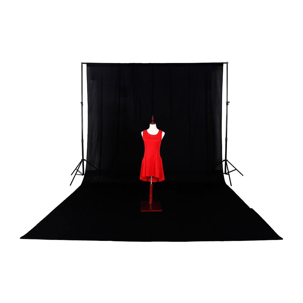 Livraison gratuite nouveau fond 3 m * 6 m/9.8ft * 19.6ft solide sans couture coton toile de fond photographie noir