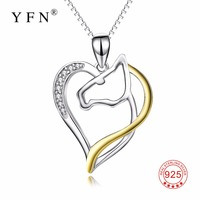 PYX0079 100 Real Pure 925 Sterling Silver Love Heart Horse Head Gold Plated Pendant Necklace Crystal