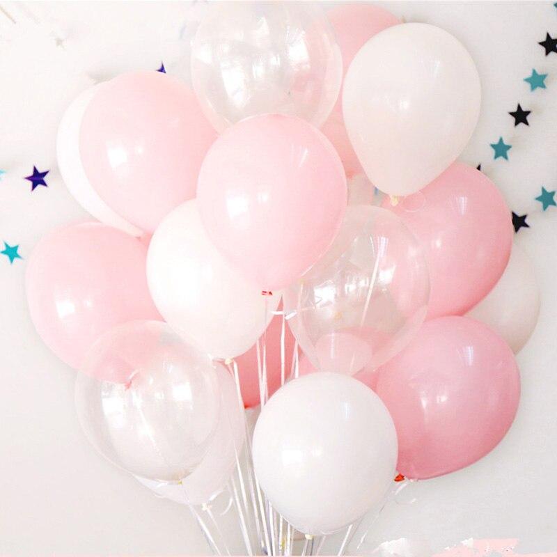 MMQWEC pçs/set 15 Rosa Balões de Hélio Ballon Látex Branco Transparente Para O Casamento Dia Dos Namorados Aniversário Fontes Do Partido Decro