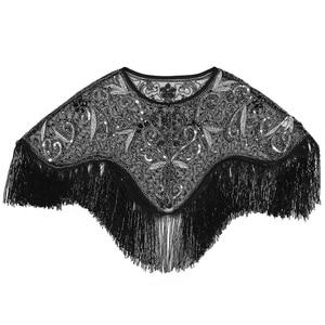 Image 4 - 여성 1920 년대 플래퍼 자수 프린지 숄 커버 개츠비 파티 페르시 스팽글 케이프 빈티지 메쉬 scraf 랩 드레스
