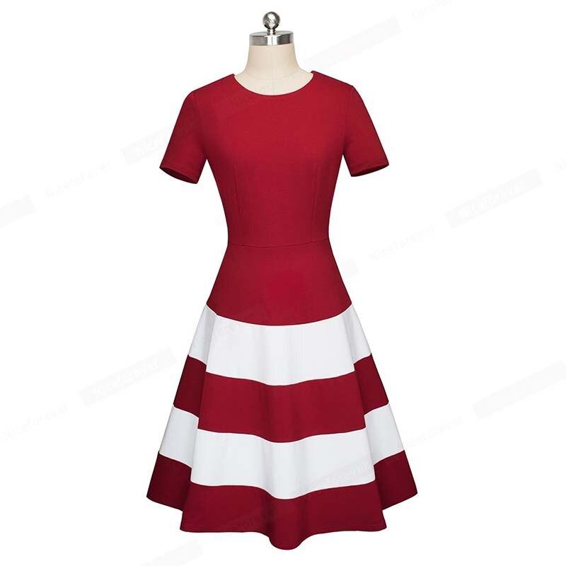 2019 nouveau été femmes robes Nice-forever contraste couleur col rond femmes robes d'affaires fête Flare a-ligne femmes robe