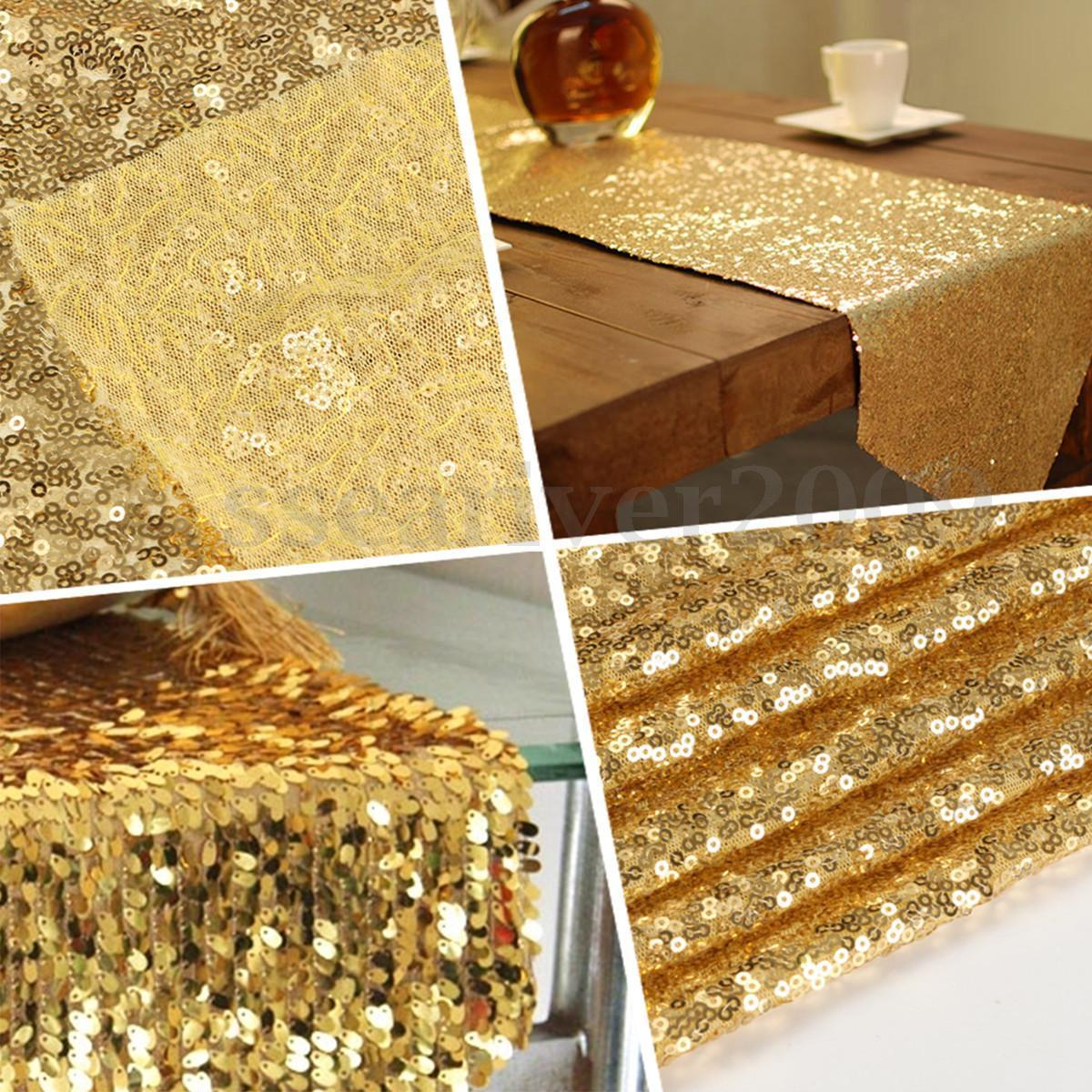 Hot Silver/Gold/Rose Gold/Champagne Sparkly Sequin Table Runner for Wedding/Event/Party/Banquet/Christmas Table Decoraiton