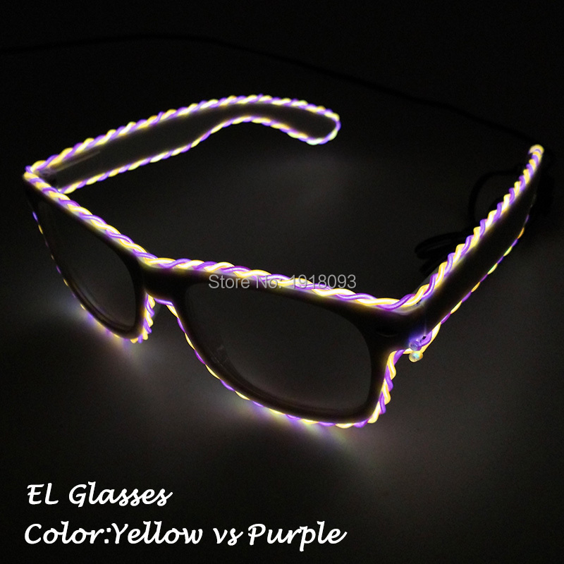EL wire Glasses Neon Cold Light Glasses Blinking Glasses with 3V Sound activated Driver for Holiday Lighting Decor