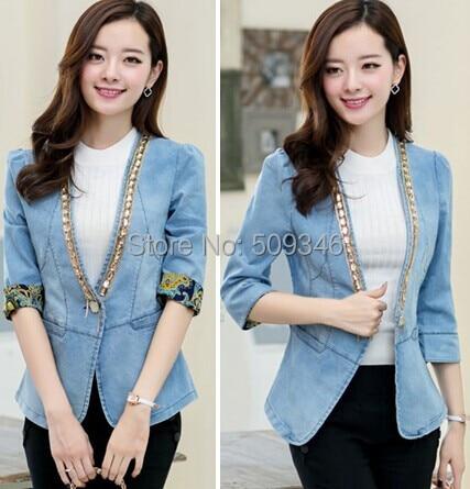 c5c5dfb0900 Fashion Women Ladies Casual Blazer Denim Jeans Jackets Outwear Seven Sleeve  Spring Autumn Korean Style
