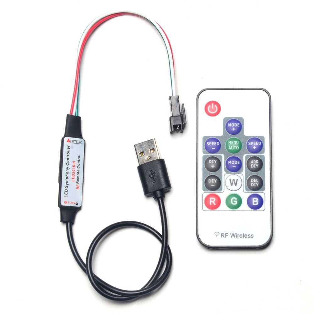 وحدة تحكم USB ل 3 دبوس WS2812 الرقمية LED بكسل قطاع مع اللاسلكية RF عن بعد DIY WS2812B التحكم موصل من نوع جيه إس تي كابل SK6812