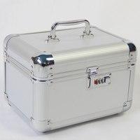 Quality Key/Coded Lock PU Storage Box Jewelry Cosmetic Make Up Bag Holder Professional Travel Professional Makeup Organizer Case