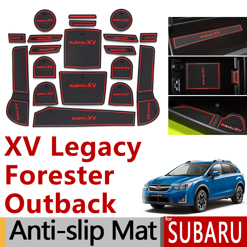 Anti-Slip Rubber Gate Slot Cup Mat For Subaru XV Crosstrek Legacy Outback Forester 2016 2017 2018 2019 2020 Accessories Stickers