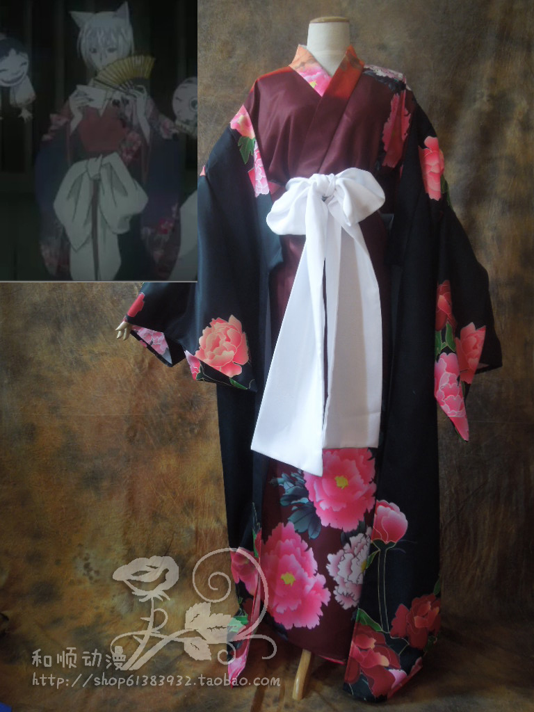 [STOCK]Anime Kamisama Kiss figure Tomoe First look Black Kimono Bathrobe Halloween cosplay costume for woman new 2017