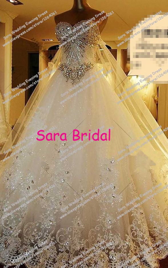 Elegant Sweetheart A-Line Luxury Crystal And Beaded Gown Long Train Bridal Gown High Quality Wedding Dress